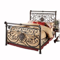 Make a bold statement in your bedroom with Mercer Bed Set from Hillsdale. Both the headboard and footboard feature decorative large medallion accented by smaller sophisticated castings. The matching scrolled side rails compete the look. Hillsdale Furniture, Bed Furniture, Painted Furniture, Furniture Ideas, Modern Furniture, King Beds, Queen Beds, Canopy Bed Frame, California King Bedding