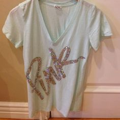 Pink Victoria's Secret Pink Victoria's Secret. Size m used good condition. Color light blue. Silver sequins very pretty. Open to any reasonable offer ❤️ ask me about bundles  PINK Victoria's Secret Tops