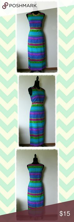 Katie Lee Collection Sleeveless Maxi Dress Pre-Owned; Very Good Condition  Size: Labeled 8 / Talla 32; It will fit Small frame but please check dres measurements below:  Bust: 32 - 33 inches Waist: 30 inches Dress Length: 47 inches (from shoulder to hem)   Product Details:  Back zip closure Unlined Lightweight Sleeveless Scoop neckline  **Belt NOT included Katie Lee Collection Dresses