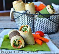 if you think your kids won't eat anything green, start with these Veggie Lunch Wraps. Start mild by making some of these veggie wraps. You'll be surprised! Wrap Recipes, Lunch Recipes, Real Food Recipes, Vegetarian Recipes, Cooking Recipes, Healthy Recipes, Vegetarian Sandwiches, Going Vegetarian, Vegetarian Breakfast