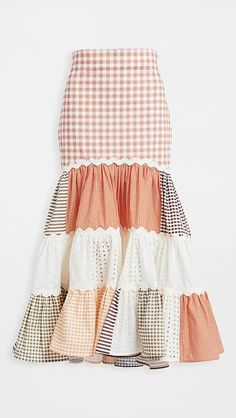 Stylish Dress Designs, Types Of Skirts, Patchwork Dress, Printed Skirts, Types Of Fashion Styles, Pretty Outfits, Dress Patterns, Gingham, Dame