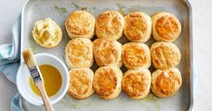 Served with luscious whipped butter, these fluffy scones are made with golden syrup for a delicious afternoon tea treat.