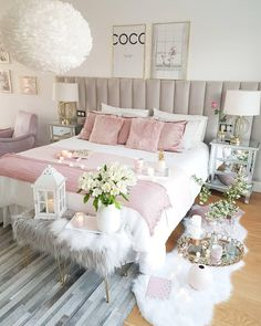 45 Beautiful and Modern Bedroom Decorating Ideas for This Year Page 2 of 45 Schlafzimmer Cute Bedroom Ideas, Modern Bedroom Decor, Cute Room Decor, Girl Bedroom Designs, Stylish Bedroom, Room Ideas Bedroom, Bedroom Furniture, Bedroom Ideas For Women, Furniture Sets