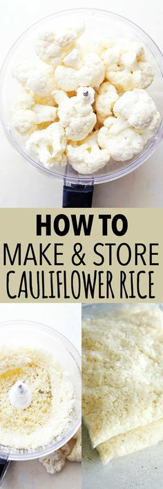 Healthy Recipes : Illustration Description How to Make and Store Cauliflower Rice – Cauliflower Rice is healthy, easy to make, and it's delicious. Learn how to make, store, and cook cauliflower rice. Healthy Rice Recipes, Rice Recipes For Dinner, Quick Recipes, Light Recipes, Veggie Recipes, Low Carb Recipes, Banting Recipes, Instant Recipes, Meatless Recipes