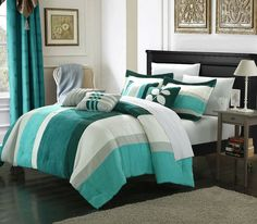 Amazon.com: Perfect Home Midland 7-Piece Plush Microsuede Striped Comforter Set, Queen, Blue/Turquoise/Grey; Bed in a Bag, and 4 Throw Pillows Included: Home & Kitchen