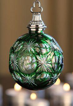 Waterford 2012 Emerald Cased Ball Ornament❊**Winter Blessings**❊ ~ ❤✿❤ ♫ ♥ X ღɱɧღ ❤ ~ Wed Dec 20142014 Noel Christmas, Green Christmas, Christmas Colors, All Things Christmas, Christmas Tree Ornaments, Christmas Decorations, Holiday Decor, Waterford Ornaments, Waterford Crystal
