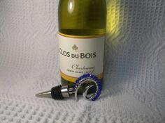 Wine Stopper Medium Sapphire Colored Swarovski Crystal by GagaGems, $15.00