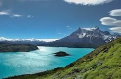 Lake Pehoé is a surface water body located in Torres del Paine National Park, in the Magallanes Region of southern Chile. The lake is fed mainly by Paine River, but it also receives the waters of the outlet of Skottsberg Lake.