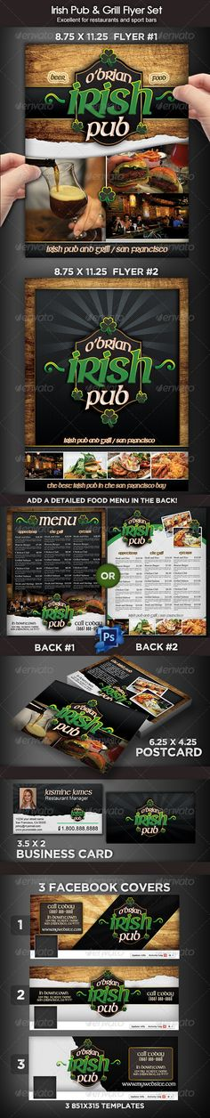 Buy Irish Pub & Grill Flyer Set by on GraphicRiver. This is a beautiful template set that can help you advertise your restaurant, a sports bar or irish pub with style! Menu Design, Food Design, Small Bar Table, Menu Flyer, Menu Printing, Facebook Cover Images, Restaurant Branding, Restaurant Restaurant, Local Pubs