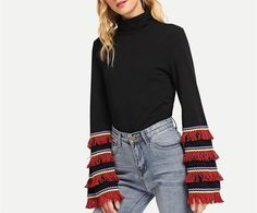 Sleeve Style: Flare SleeveFabric Type: BroadclothMaterial: Polyester, Cotton, SpandexNeckline: Mock NeckColor: BlackDecoration: Tassel Fringe Length XS / / S / / M / / L / / Denim Fashion, High Fashion, Fall Sweaters, Black Blouse, Mock Neck, Sleeve Styles, What To Wear, Autumn Fashion, Bell Sleeve Top