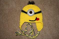 Crochet Minion inspired hat with braids. by TracyplusCrochet