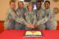 KACH Leadership (R to L) 1st Sgt. Karen Moody, Lt. Col. Andrew Lankowicz, Col. Felicia Pehrson, Lt. Col. Lloynetta Artis, and Lt. Col. Travis Richardson, pose for the camera, 3 p.m., July 27. (Photo by Britney Walker)