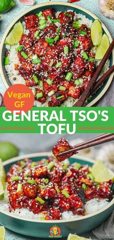General Tso's Tofu is low-fat, vegan and gluten-free and made with crispy, fried tofu then bathed in a spicy, sticky sweet and sour sauce. As vegan chinese food goes, this is sticky tofu that's better than takeout stir fry. One of the best easy vegan dinner recipes! #generaltsostofu #vegangeneraltsostofu #veganstirfry #veganchinesefood #stickytofu #lowfat #glutenfreeveganrecipes #easysweetandsoursauce #vegandinnerrecipes #easy Easy Vegan Dinner, Vegan Dinner Recipes, Tofu Recipes, Vegetarian Recipes, Vegan Recipes Easy, General Tso Tofu, Vegan Dishes, Vegan Food