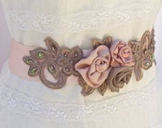 Pale Blush and Ivory Bridal Sash Petal Pink by TheRedMagnolia