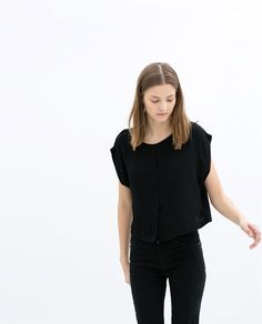 ZARA - SALE - BLOUSE WITH CROPPED SLEEVE