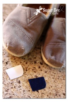 easy way to patch your Toms right when you buy them (wish I had done that!) so that they won't wear out too quickly...