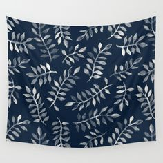 White Leaves on Navy - a hand painted pattern Wall Tapestry