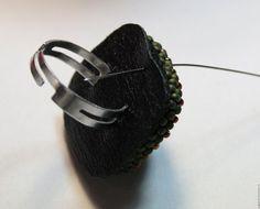 """Кольцо на вышитой основе """"Винтаж"""" - Ярмарка Мастеров - ручная работа, handmade"""