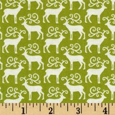 Christmas Mini Reindeer Green from @fabricdotcom  Designed by The Henley Studio for Andover/Makower, this cotton print is perfect for quilting, apparel and home decor accents.  Colors include green and off white.