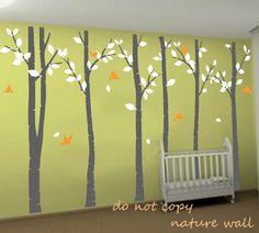 Birch Tree Decals wall stickers forest decals kids baby nursery decals  decor wall art murals graphic-birds in  birch forest