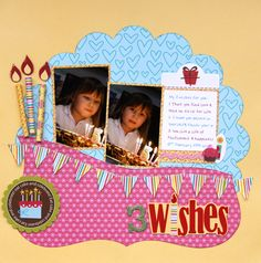 birthday layout with 3D candles