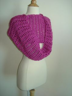 Funky Handmade Hot Pink Crochet Cowl/Scarf by Belisse on Etsy, $35.00