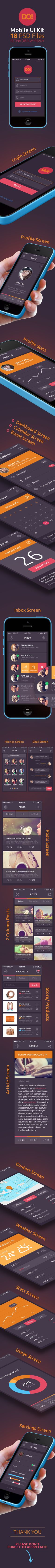 - Mobile UI Kit by pixelstrawberry DO! Mobile App UI Kit interface is 19 PSD high resolution, retina display ready, fully shape/vector layered photoshop files, easy Ui Kit, Web Design, Graphic Design, Mobile Ui Design, Mobile App Ui, Layout, Interface Design, Flat, Gaming Tips