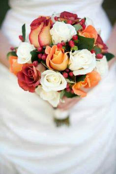 Bi-Color Red/Orange Roses, Orange Roses, White Roses, Red Hypericum Berries, Beautiful Dark Green Foliage