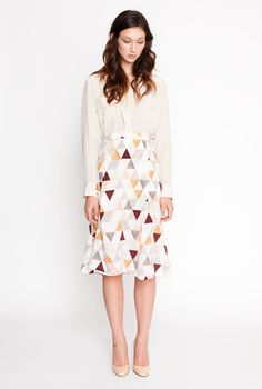 secret squirrel 2012 winter collection / brushstroke shirt in almond / dusk skirt in light triangle / blouse / knee-length skirt / flowy / feminine professional / nude pumps