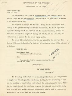 Press Release Regarding the Start of Construction on the Boulder Canyon Project, July 7, 1930From the series:  President's Subject Files, 1929 - 1935.Herbert Hoover Papers, 1913 - 1964Initial site work for the Hoover Dam (originally known as the Boulder Canyon Project) began on July 7, 1930, as announced in this press release from the Department of the Interior.More background on the Hoover Dam at the Hoover Presidential Library and Museum