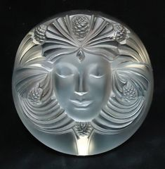 Rene Lalique frosted crystal paperweight