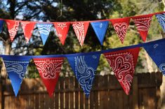 Blue & Red Bandana Banner Bunting, Western, Cowboy, Horse, Barn, Birthday party decoration, photo prop - LOVE IT $27 at Giddy Gumdrops on Etsy