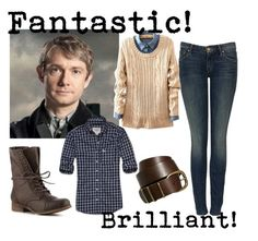 """""""Dr. John Watson"""" by popularculture ❤ liked on Polyvore featuring Abercrombie & Fitch, Pieces, Madden Girl, skinny jeans, combat boots, plaid, leather, button up, bbc and belts"""
