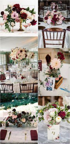 blush and burgundy wedding reception centerpiece ideas #weddingdecor #weddingtable #weddingreception #weddingcenterpieces