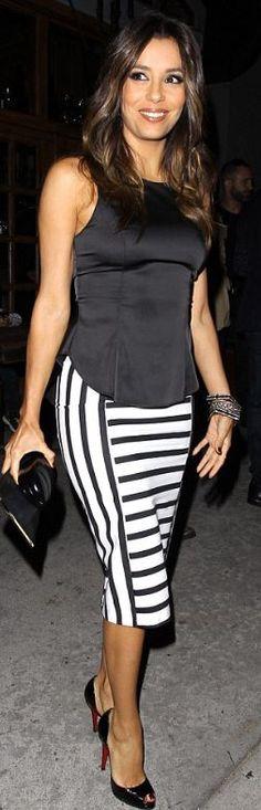 Stripes: Shirt – Lovers + Friends  Skirt – Zara  Shoes – Christian Louboutin LBV