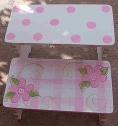 Custom KIds Step Stool Benches Pink Green Daisy by spoiltrottn