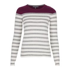 Colourblock Stripe Jumper ❤ liked on Polyvore featuring tops, sweaters, jumpers sweaters, laura ashley sweaters, laura ashley top, white top and white jumper