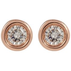 Ron Hami 14K Rose Gold Diamond Stud Earrings - 0.07 ctw found on Polyvore featuring jewelry, earrings, rose gold, stud earrings, post back earrings, diamond post earrings, 14 karat gold earrings and 14k diamond earrings