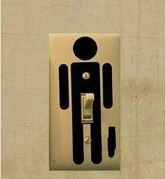 A ladies' room light switch