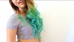 Turquoise dip dye on light brown hair. Wish I could pull this off