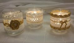 Trois Photophores blanc et doré en crochet pour décor chic : Accessoires de maison par toochoupinou