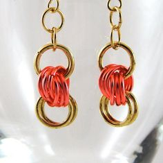 Chainmail Earrings Brass Silvered Peach Love by HCJewelrybyRose