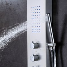Thermostatic Multi-Function Shower Tower Panel Massage System with Handheld Tub Spout Includes Rough-In Valve Shower Tower Panel, Shower Panels, Stainless Steel Panels, Shower Plumbing, Waterfall Shower, Fixed Shower Head, Shine Your Light, Rainfall Shower, Shower Hose