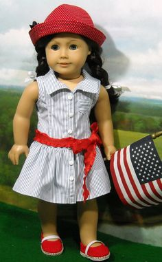 $59.00  Red, White and Blue Classic cotton dress for 18 inch dolls