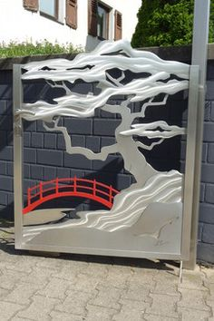 Work of art. Yes, I know it is a gate, but I could not help myself. Door |||| Stainless Steel Japanese and Asian Gate asian outdoor decor