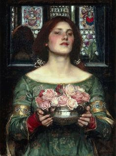 """Gather Ye Rosebuds While Ye May"".  (1908).  ""Recolhe Teus Botões de Rosa Enquanto Podes"". (by John William Waterhouse)."