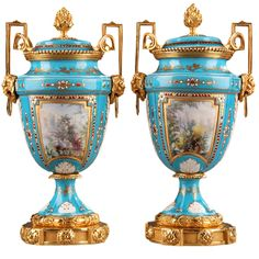 Pair of English Porcelain Vases and Gilded Bronze Mounts  France  1880  Fine pair of English porcelain vases and gilt bronze mounts resting on a circular base with fine fluting and floral patterns.
