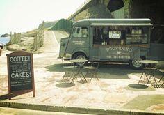 A local tea and coffee van - in love! Coffee Carts, Coffee Truck, Coffee Van, I Love Coffee, Mobile Coffee Cart, Citroen Van, Catering Van, Mini Cafe, Cake Stall