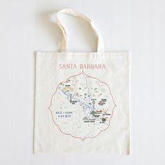 Santa Barbara Wedding Map Tote for your coastal wedding. A unique wedding favor for your guests.