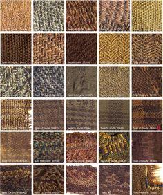 différentes armures/tissage d'étoffes viking